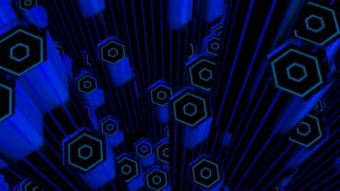 Moving hexagon tubes — Stock Video