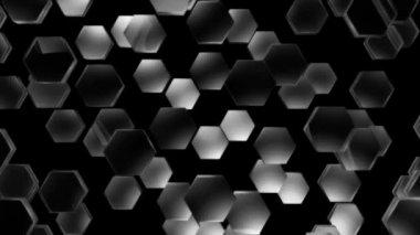 Flying gray hexagons — Stock Video