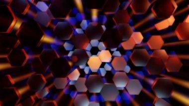 Flying disco hexagons — Stock Video