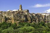 Pitigliano, Tuscany, old city panorama. Color image — Stock Photo