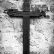 Old wooden Christian cross. Black and white photo — Stock Photo #65921443