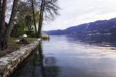 Lake Orta, early springtime panorama. Color photo — Stock Photo