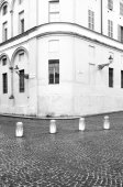 Parma, old city centre detail. Black and white photo — Stock Photo