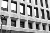 Modern building facade. Black and white photo — Stock Photo