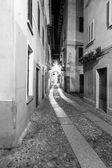 Orta San Giulio old city, night view. Black and white photo — Stock Photo