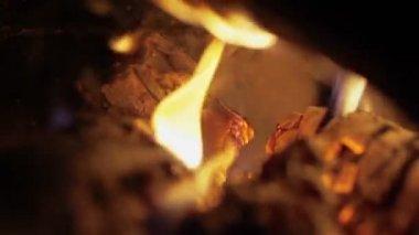 Luminose fiamme legno, fuoco macro dei — Video Stock