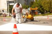 Road Series: Renew the Road Marking on the Street — Stock Photo