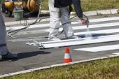 Traffic Series: Renew the Road Marking on the Street  — Stock Photo