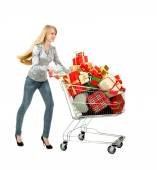 Young Woman Buying a lot of Gifts — Stock Photo