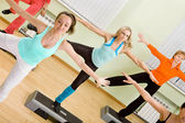 Women of Different Age Doing Step Aerobics in the Gym — Stock Photo