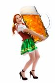 Happy Woman in Traditional Costume Holding a Huge Beer Glass — Stock Photo