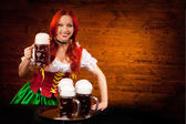 Bavarian Woman with Six Beer Glasses — Stock Photo