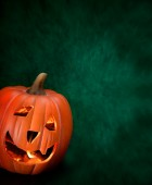 Halloween Orange Pumpkin with Light Inside,  Advertising Space, — Stock Photo