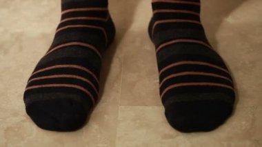 Man legs in socks — Stock Video