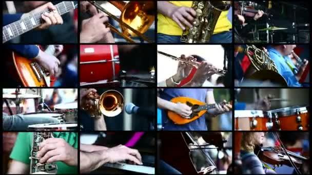Músicos que tocan instrumentos musicales — Vídeo de stock