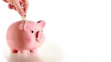 Hand puts money into moneybox-pig — Stock Video