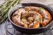 Rustic style  fried sausages — Stock Photo