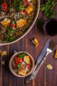 Stewed lentils with bacon, peppers and croutons — Stock Photo