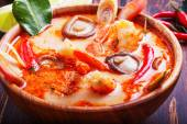 Thai Tom Yam soup with shrimp and  mushrooms — Stock Photo