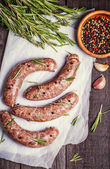 Raw sausage of beef and pork with spices — Stock Photo