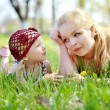 Mother and daughter on nature — Stock Photo #66850387