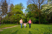 Family plays on fresh air walk — Stock Photo