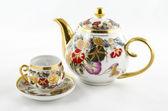 Antique porcelain tea and coffee set. — Stock Photo
