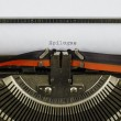 Epilogue word printed on an old typewriter — Stock Photo #67272959