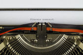 Finance concept word printed on an old typewriter — Stock Photo