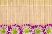 Wood, wicker background with pink ribbon and flower — Stock Photo