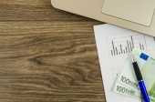 Office, business tools with euro on wooden table — ストック写真