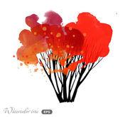 Watercolor autumn tree — Vecteur