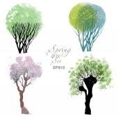 Arbres de printemps de l'aquarelle — Vecteur