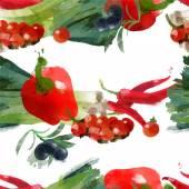Watercolor vegetables pattern — Stock Vector