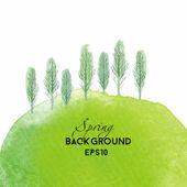 Watercolor Spring landscape — Stock Vector