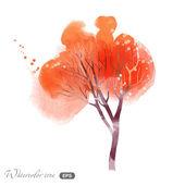 Watercolor autumn tree — Stock Vector