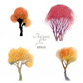 Watercolor autumn trees — Stock Vector
