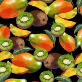 Modèle sans couture de mangue et kiwi — Vecteur