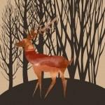 Watercolor deer in forest — Stock Vector #76453131