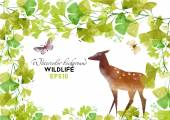 Watercolor deer in forest — Stock Vector