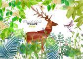 Ormandaki suluboya geyik — Stok Vektör