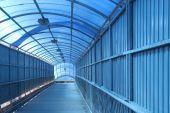 The covered blue crosswalk — Stock Photo