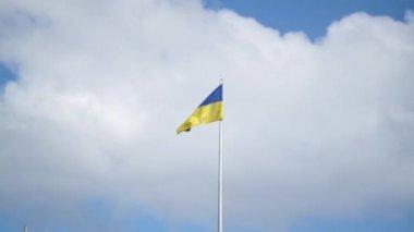 Flag Of Ukraine Sky — Stock Video