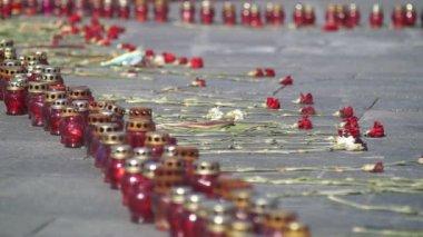 Memorial Monument Heavenly Hundred Ukraine — Stock Video