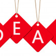 Hanging deal letter tags isolated on white with clipping path. — Stock Photo #67183799