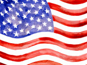 Watercolor American Flag.Clipping Path — Stock Photo