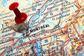 Focus on Montreal on the Map. — Stockfoto