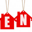 Hanging rent letter tags isolated on white with clipping path. — Stock Photo #67240285