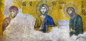 ISTANBUL - JUN 06, 2011:Jesus Christ, a Byzantine mosaic in the — Stock Photo