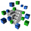 Abstract 3d illustration of cube assembling from blocks — Stock Photo #69824833